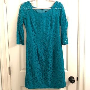 Chetta B Lace Shift Dress, Emerald Green